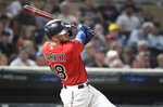Minnesota Twins' Mitch Garver doubles off Chicago White Sox pitcher Reynaldo Lopez to drive in teammate Jorge Polanco in the fifth inning of a baseball game, Monday, Sept. 16, 2019, in Minneapolis. (AP Photo/Tom Olmscheid)