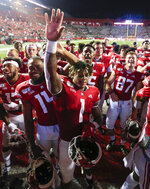Rutgers running back Isaih Pacheco (1) waves to the crowd after Rutgers' 48-21 win over Massachusetts in an NCAA college football game Friday, Aug. 30, 2019, in Piscataway, N.J. (Andrew Mills/NJ Advance Media via AP)