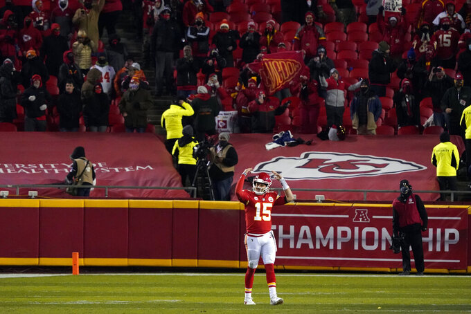 Kansas City Chiefs quarterback Patrick Mahomes celebrates at the end of the AFC championship NFL football game against the Buffalo Bills, Sunday, Jan. 24, 2021, in Kansas City, Mo. The Chiefs won 38-24. (AP Photo/Jeff Roberson)