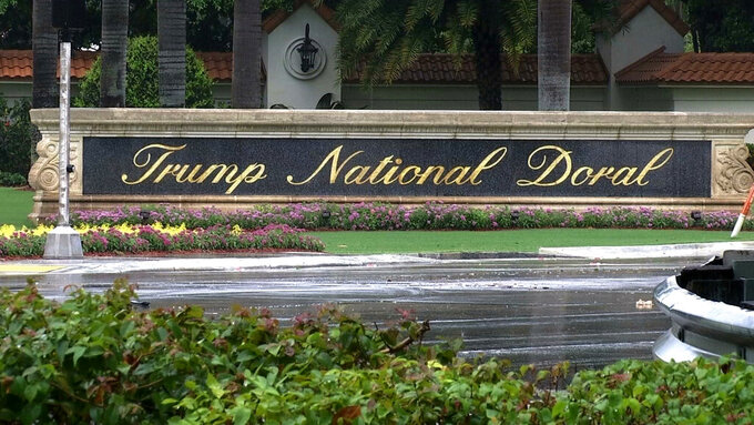 FILE - This June 2, 2017, file frame from video shows the Trump National Doral in Doral, Fla. Donald Trump's struggling Doral golf club near Miami could be thrown a lifeline if a Florida bill being hammered out behind closed doors allows more gambling in the state and the property is allowed to operate a casino. (AP Photo/Alex Sanz, File)