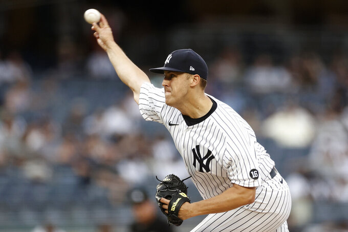 New York Yankees pitcher Jameson Taillon delivers during the first inning of a baseball game against the Boston Red Sox on Sunday, July 18, 2021, in New York. (AP Photo/Adam Hunger)