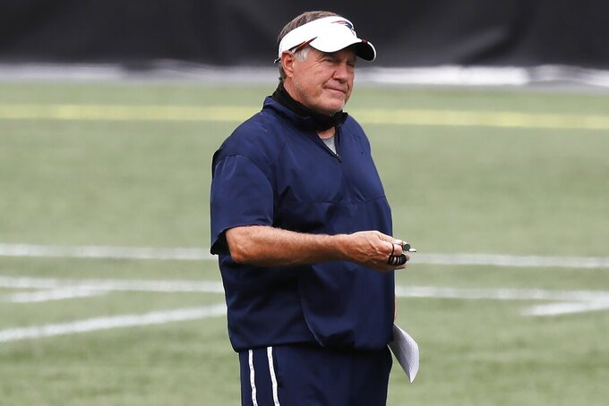 New England Patriots head coach Bill Belichick stands on the field before an NFL football training camp scrimmage, Friday, Aug. 28, 2020, in Foxborough, Mass. (AP Photo/Michael Dwyer, Pool)