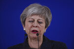British Prime Minister Theresa May speaks during a media conference at an EU summit in Brussels, Friday, March 22, 2019. Worn down by three years of indecision in London, EU leaders on Thursday were grudgingly leaning toward giving the U.K. more time to ease itself out of the bloc. (AP Photo/Francisco Seco)