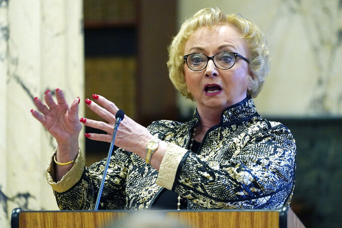 CORRECTS DATE State Superintendent of the Mississippi Department of Education Carey Wright provides the Senate Education Committee an update on the pandemic's impact on K-12 schools at the Capitol in Jackson, Miss., Wednesday, Jan. 6, 2021. (AP Photo/Rogelio V. Solis)