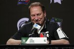 Michigan State head coach Tom Izzo speaks after a practice session for the semifinals of the Final Four NCAA college basketball tournament, Thursday, April 4, 2019, in Minneapolis. (AP Photo/Matt York)