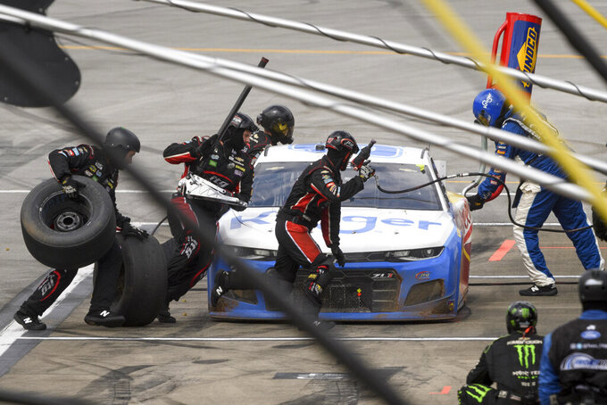 Ryan Preece pits during a NASCAR Cup series auto race Monday, Oct. 4, 2021, in Talladega, Ala. (AP Photo/John Amis)