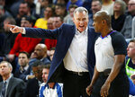 Houston Rockets coach Mike D'Antoni argues a call with official Derrick Collins (11) during the fourth quarter of the team's NBA basketball game against the Minnesota Timberwolves on Tuesday, Feb. 13, 2018, in Minneapolis. The Rockets won 126-108. (AP Photo/Andy Clayton-King)
