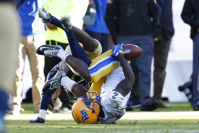 Pittsburgh wide receiver Maurice Ffrench (2) can't hang on to a pass in the first half of an NCAA college football game against the Georgia Tech Saturday, Nov. 2, 2019, in Atlanta. (AP Photo/John Bazemore)