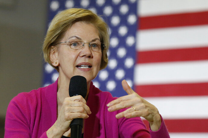 Sen. Elizabeth Warren, D-Mass., Democratic presidential candidate, speaks during a town hall meeting Saturday, Jan. 25, 2020, in Muscatine, Iowa. (AP Photo/Sue Ogrocki)