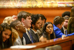 Youth plaintiffs in the Juliana v. United States climate change lawsuit gather in a federal courthouse for a hearing in front of a panel of judges with the 9th Circuit Court of Appeals in Portland, Ore., on Tuesday, June 4, 2019. The lawsuit by a group of young people who say U.S. energy policies are causing climate change and hurting their future faces a major hurdle Tuesday as lawyers for the Trump administration argue to stop the case from moving forward. (Robin Loznak/Pool Photo via AP)