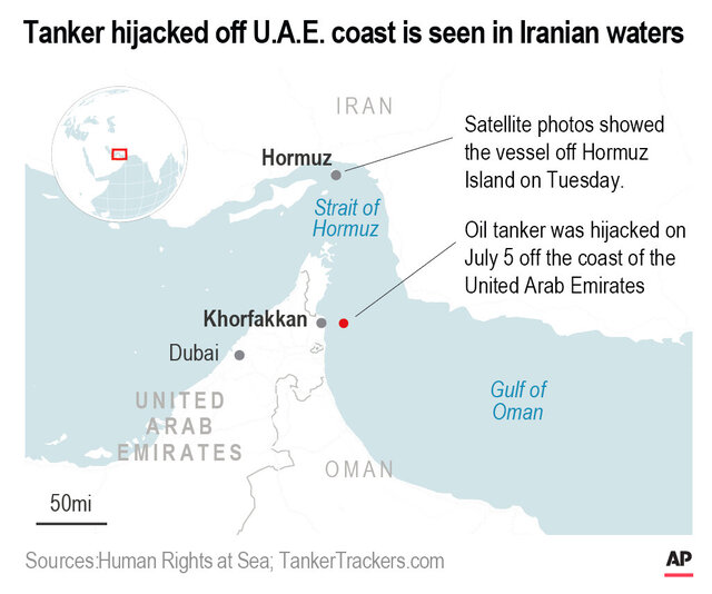 Oil tanker sought by the U.S. was hijacked july 5 off the U.A.E. coast.;