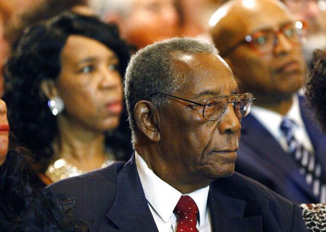 FILE - Charles Evers, brother of slain civil rights leader Medgar Evers, attends the funeral for blues legend B.B. King at Bell Grove Missionary Baptist Church in Indianola, Miss., May 30, 2015. Evers, a longtime figure in Mississippi politics, died Wednesday, July 22, 2020. He was 97. (AP Photo/Rogelio V. Solis, Pool, File)