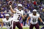 Montana quarterback Cam Humphrey (2) throws against Washington in the second half of an NCAA college football game Saturday, Sept. 4, 2021, in Seattle. Montana won 13-7. (AP Photo/Elaine Thompson)