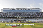 Drivers take the green flag to restart the NASCAR Daytona 500 auto race Monday, Feb. 17, 2020, at Daytona International Speedway in Daytona Beach, Fla. Sunday's running of the race was postponed due to rain. (AP Photo/Chris O'Meara)