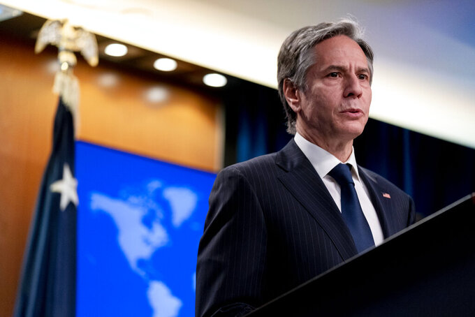 Secretary of State Antony Blinken speaks at a news conference to announce the annual International Religious Freedom Report at the State Department in Washington, Wednesday, May 12, 2021. (AP Photo/Andrew Harnik, Pool)