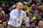 Michigan head coach John Beilein directs his team during the first half of an NCAA college basketball game against Minnesota in the semifinals of the Big Ten Conference tournament, Saturday, March 16, 2019, in Chicago. (AP Photo/Nam Y. Huh)
