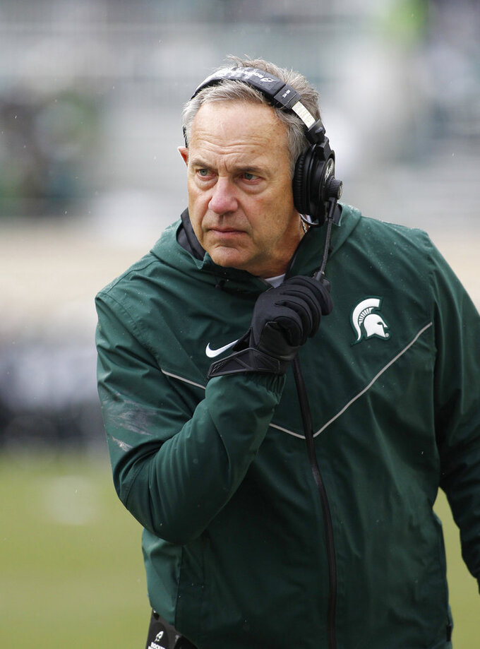 Michigan State coach Mark Dantonio watches the second quarter of an NCAA college football game against Purdue, Saturday, Oct. 27, 2018, in East Lansing, Mich. (AP Photo/Al Goldis)