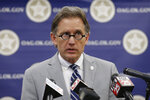 Oklahoma Attorney General Mike Hunter speaks during a news conference, Thursday, Sept. 12, 2019, in Oklahoma City. Hunter is sending cease-and-desist letters to two companies that are marketing do-it-yourself sexual assault kits victims can use to gather evidence at home. (AP Photo/Sue Ogrocki)