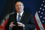 Secretary of State Mike Pompeo speaks during a news conference at U.S. Embassy Kabul, Tuesday, June 25, 2019, during an unannounced visit to Kabul, Afghanistan. (AP Photo/Jacquelyn Martin, Pool)