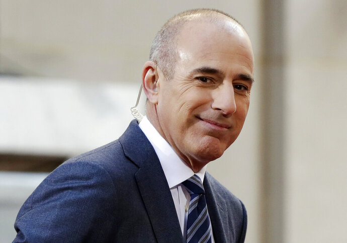 FILE - In this April 21, 2016, file photo, Matt Lauer, co-host of the NBC