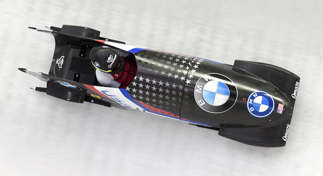 US bobsleigh pilot Kaillie Humphries competes during the two women's monobob race in Koenigsee, Germany, Saturday, Jan. 23, 2021. (Tobias Hase/dpa via AP)