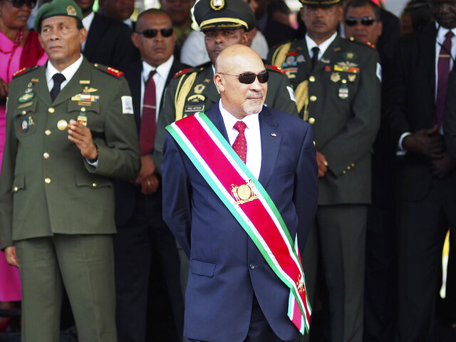 FILE - In this Aug. 12, 2015 file photo, Suriname President Desire