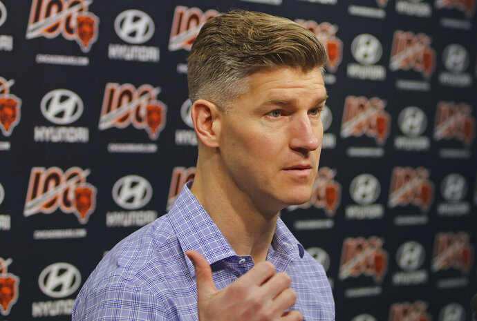 Chicago Bears general manager Ryan Pace speaks with the media during a press conference Tuesday, April 23, 2019, at Halas Hall in Lake Forest, Illinois. (Tim Boyle/Chicago Sun-Times via AP)