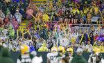 Green Bay Packers fans watch an NFL football training camp at Lambeau Field Saturday, Aug. 7, 2021, in Green Bay, Wis. (AP Photo/Matt Ludtke)