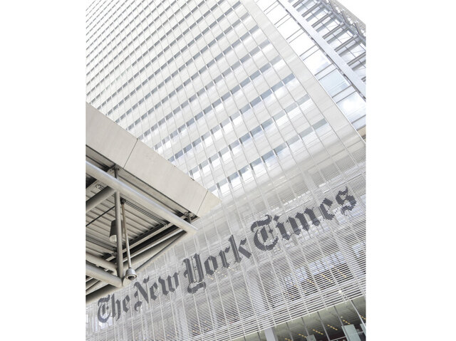 FILE - This June 22, 2019 file photo shows the exterior of the New York Times building in New York. Some staff members at The New York Times and Philadelphia Inquirer called in sick to protest editorial decisions they found insensitive about protests over George Floyd's death. (AP Photo/Julio Cortez, File)
