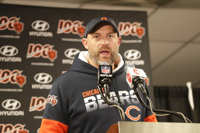 FILE - Chicago Bears head coach Matt Nagy speaks during a news conference following an NFL football game against the Dallas Cowboys, Thursday, Dec. 5, 2019, in Chicago. The heat is on — and the games haven't even kicked off yet. That's life in the NFL for some coaches who enter the regular season knowing they need to guide their squads through what will be a most unusual regular season and at least keep them in playoff contention into December. (AP Photo/Morry Gash)