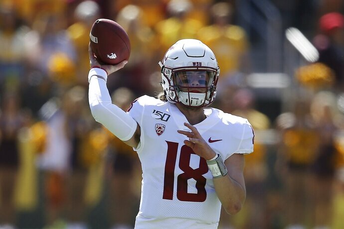 Washington State quarterback Anthony Gordon throws a pass against Arizona State during the first half of an NCAA college football game Saturday, Oct. 12, 2019, in Tempe, Ariz. (AP Photo/Ross D. Franklin)