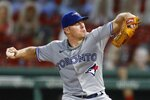 Toronto Blue Jays' Chase Anderson pitches during the third inning of a baseball game against the Boston Red Sox, Saturday, Aug. 8, 2020, in Boston. (AP Photo/Michael Dwyer)