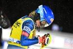 Mikaela Shiffrin of the United States arrives at the finish area to take the second place at the alpine ski, women's World Cup slalom in Levi, Finland, Saturday, Nov. 21, 2020. (Jussi Nukari/Lehtikuva via AP)