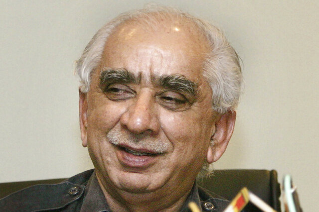 FILE - In this July 27, 2006, file photo, former Indian Defense, External Affairs and Finance minister in the Bharatiya Janata Party, or BJP, led National Democratic Alliance government, Jaswant Singh, gestures during the launch and preview of his book 'A Call to Honor-In Service of Emergent India,' in New Delhi, India.  Singh, a veteran Indian politician who served as defense minister, finance minister and external affairs minister during his career, died Sunday, Sept. 27, 2020. He was 82.(AP Photo/Manish Swarup, File)