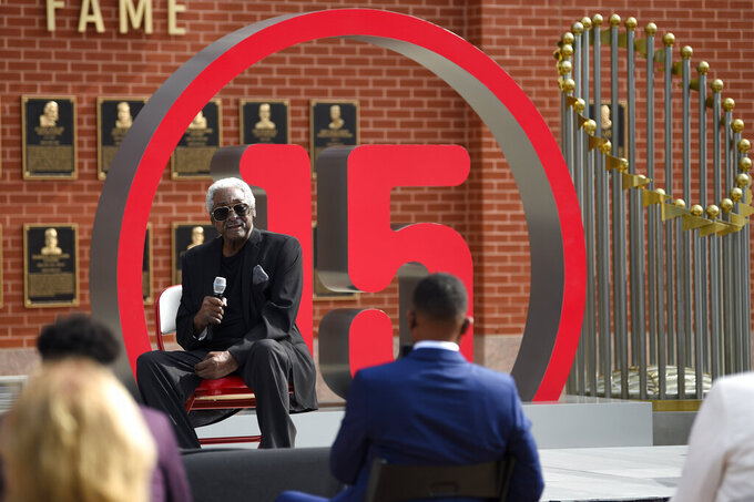 FILE - Former Philadelphia Phillies player Dick Allen speaks after the unveiling of his retired number prior to a baseball game between the Phillies and the Washington Nationals in Philadelphia, in this Thursday, Sept. 3, 2020, file photo. Dick Allen, a fearsome hitter who was a seven-time All-Star, the 1964 NL Rookie of the Year and the 1972 AL MVP, has died. He was 78. The Philadelphia Phillies, the team Allen started out with, announced his death on Monday, Dec. 7, 2020.(AP Photo/Derik Hamilton, File)