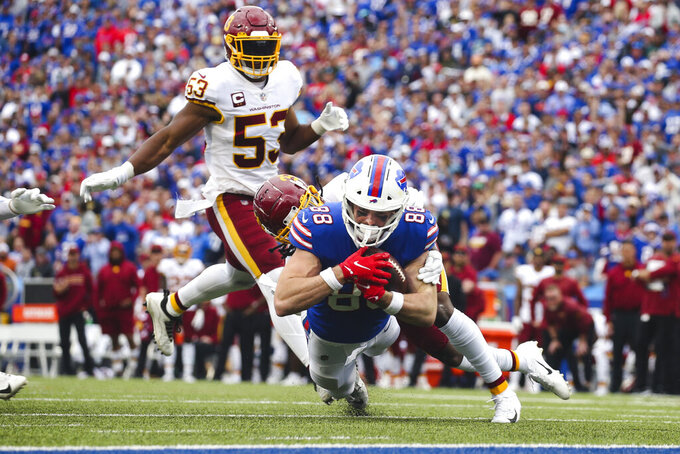 Washington Football Team's Kamren Curl (31) tackles Buffalo Bills' Dawson Knox (88) near the end zone during the second half of an NFL football game Sunday, Sept. 26, 2021, in Orchard Park, N.Y. (AP Photo/Jeffrey T. Barnes)