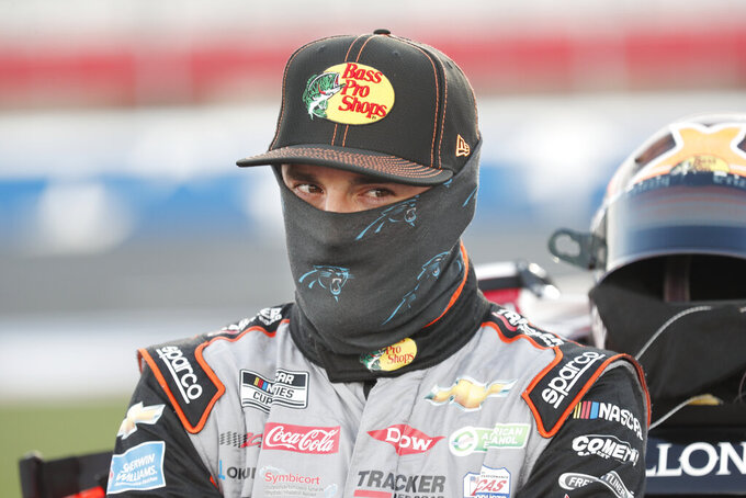 Austin Dillon waits for the start of a NASCAR Cup Series auto race at Charlotte Motor Speedway Thursday, May 28, 2020, in Concord, N.C. (AP Photo/Gerry Broome)