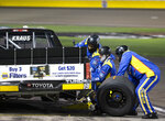 Derek Kraus makes a pit stop during the NASCAR Truck Series auto race at Las Vegas Motor Speedway on Friday, Sept. 25, 2020, in Las Vegas. (Ellen Schmidt/Las Vegas Review-Journal via AP)