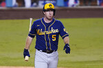 FILE - In this Thursday, Oct. 1, 2020, file photo, Milwaukee Brewers' Jedd Gyorko (5) walks back to the dugout after an at-bat against the Los Angeles Dodgers during Game 2 of a National League wild-card baseball series against the Los Angeles Dodgers in Los Angeles. The Brewers have declined 2021 options on infielders Jedd Gyorko and Eric Sogard as well as outfielder Ben Gamel. (AP Photo/Ashley Landis, File)