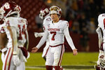 Oklahoma quarterback Spencer Rattler (7) reacts after throwing an interception during the second half an NCAA college football game against Iowa State, Saturday, Oct. 3, 2020, in Ames, Iowa. Iowa State won 37-30. (AP Photo/Charlie Neibergall)