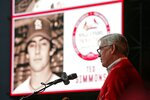 FILE - In this Aug. 15, 2015 file photo former Cardinals catcher Ted Simmons delivers his speech during the Cardinals Hall of Fame induction ceremony in St. Louis. Simmons, an eight-time All-Star during a 21-year big league career, was elected to baseball's Hall of Fame on Sunday, Dec. 8, 2019. (Huy Mach /St. Louis Post-Dispatch via AP, file)