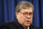 Attorney General William Barr speaks during a news conference, Monday, Feb. 10, 2020, at the Justice Department in Washington.  Four members of the Chinese military have been charged with breaking into the networks of the Equifax credit reporting agency and stealing the personal information of tens of millions of Americans, the Justice Department said Monday, blaming Beijing for one of the largest hacks in history.   (AP Photo/Jacquelyn Martin)