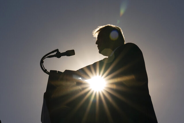 President Donald Trump speaks at a campaign rally at Carson City Airport, Sunday, Oct. 18, 2020, in Carson City, Nev. (AP Photo/Alex Brandon8