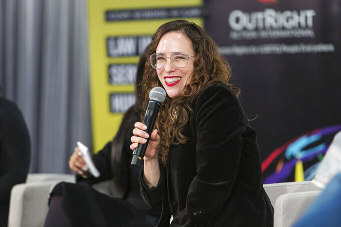 In this Dec. 7, 2019 photo provided by Brad Hamilton, Jessica Stern, head of Outright International, speaks during the OutSummit in New York. Stern, to become the U.S. State Department's special diplomatic envoy for LGBTQ rights in September 2021, sees a mix of promising news and worrisome news almost everywhere she looks as she assesses the challenges that lie ahead. (Brad Hamilton/OutRight Action International via AP)