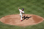 Philadelphia Phillies starting pitcher Adonis Medina throws during the first inning of a baseball game against the Toronto Blue Jays, Sunday, Sept. 20, 2020, in Philadelphia. (AP Photo/Michael Perez)