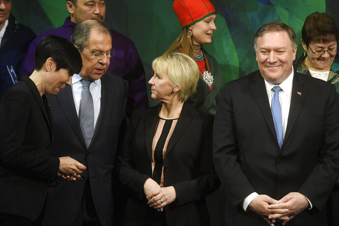 From left, Norwegian Foreign Minister Ine Marie Eriksen Soreide, Russia's Foreign Minister Sergey Lavrov, Sweden's Foreign Minister Margot Wallstrom and US Secretary of State Mike Pompeo stand for a group photo, during the Arctic Council Ministerial Meeting in Rovaniemi, Finnish Lapland, Tuesday, May 7, 2019. (Vesa Moilanen/Lehtikuva via AP)