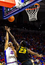 Florida forward Isaiah Stokes (15) shoots over Missouri forward Jeremiah Tilmon (23)  during an NCAA college basketball game, Saturday, Feb. 23, 2019. (Lauren Bacho/The Gainesville Sun via AP)