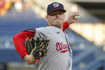 Washington Nationals starter Josh Rogers throws to a Pittsburgh Pirates batter during the first inning of a baseball game Friday, Sept. 10, 2021, in Pittsburgh. (AP Photo/Keith Srakocic)