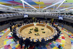 European Union leaders attend a round table meeting at an EU summit in Brussels, Thursday, March 21, 2019. British Prime Minister Theresa May is trying to persuade European Union leaders to delay Brexit by up to three months, just eight days before Britain is scheduled to leave the bloc. (Aris Oikonomou, Pool Photo via AP)