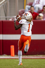 Mercer wide receiver Devron Harper (1) pulls in a pass for a touchdown during the second half of an NCAA college football game against Alabama, Saturday, Sept. 11, 2021, in Tuscaloosa, Ala. (AP Photo/Vasha Hunt)